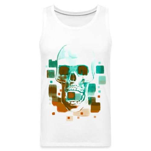 Cool Skull, Cyan & Orange - Men's premium T-shirt - Men's Premium Tank Top