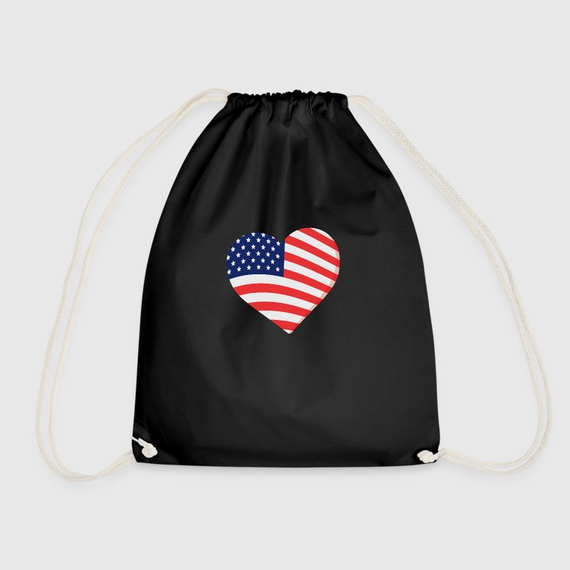 USA Herz - Drawstring Bag