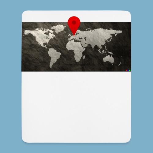 Weltkarte mit Pin - Standort - Mousepad (Hochformat)