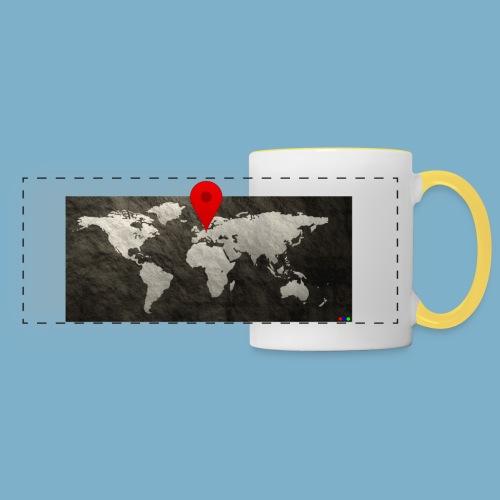 Weltkarte mit Pin - Standort - Panoramatasse
