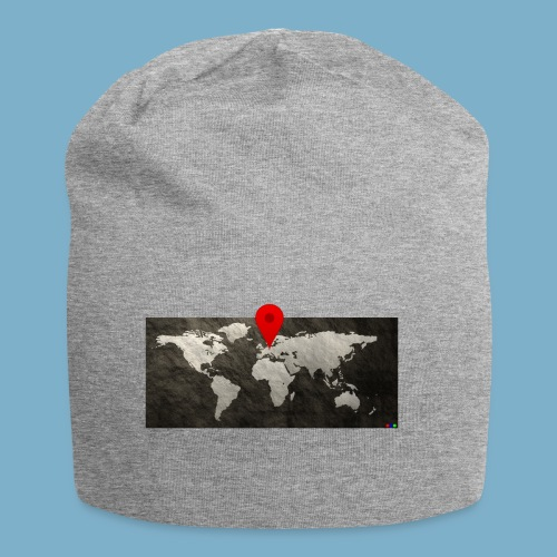 Weltkarte mit Pin - Standort - Jersey-Beanie