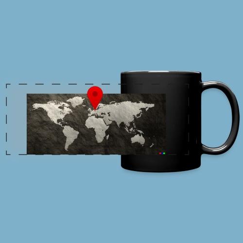 Weltkarte mit Pin - Standort - Panoramatasse farbig