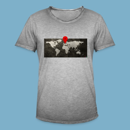 Weltkarte mit Pin - Standort - Männer Vintage T-Shirt