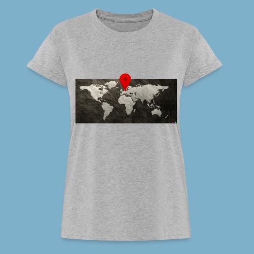 Weltkarte mit Pin - Standort - Frauen Oversize T-Shirt
