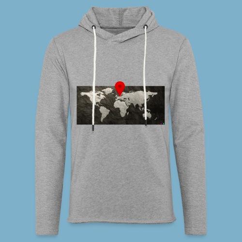 Weltkarte mit Pin - Standort - Leichtes Kapuzensweatshirt Unisex