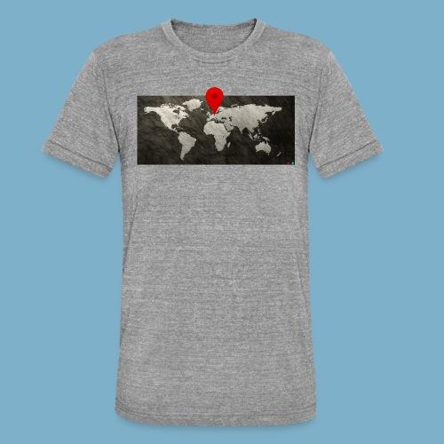Weltkarte mit Pin - Standort - Unisex Tri-Blend T-Shirt von Bella + Canvas