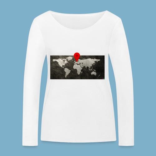 Weltkarte mit Pin - Standort - Frauen Bio-Langarmshirt von Stanley & Stella