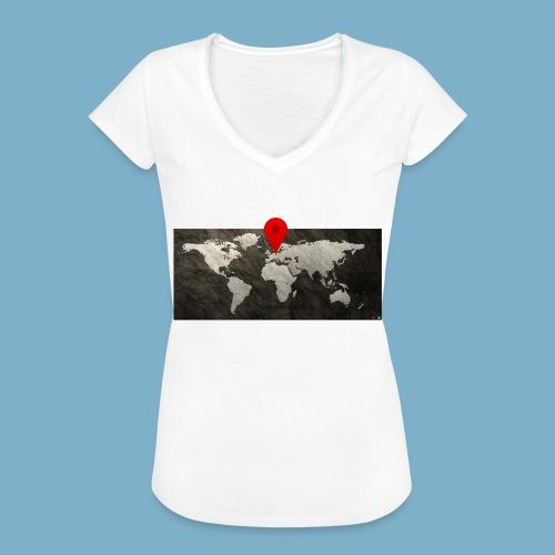 Weltkarte mit Pin - Standort - Frauen Vintage T-Shirt