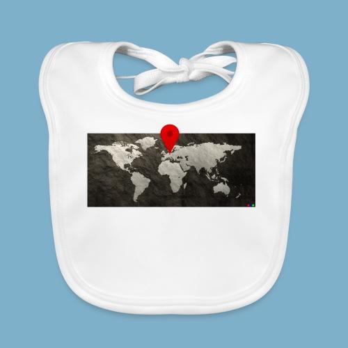 Weltkarte mit Pin - Standort - Baby Bio-Lätzchen