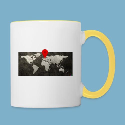 Weltkarte mit Pin - Standort - Tasse zweifarbig