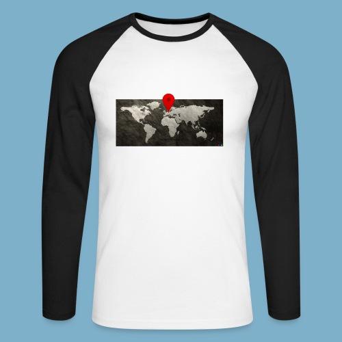 Weltkarte mit Pin - Standort - Männer Baseballshirt langarm