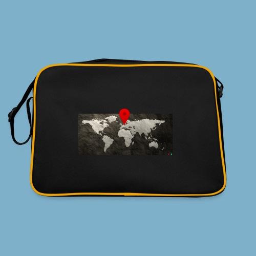 Weltkarte mit Pin - Standort - Retro Tasche