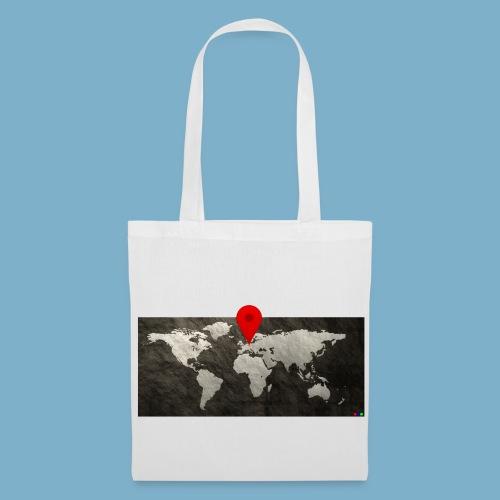 Weltkarte mit Pin - Standort - Stoffbeutel