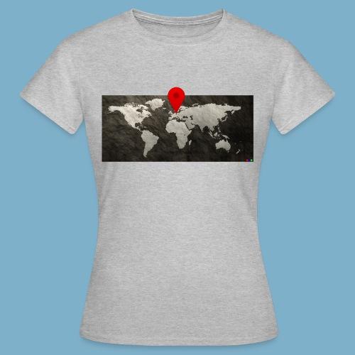 Weltkarte mit Pin - Standort - Frauen T-Shirt