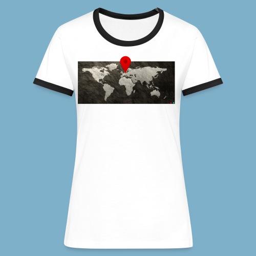 Weltkarte mit Pin - Standort - Frauen Kontrast-T-Shirt
