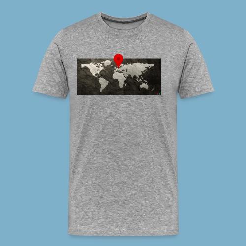 Weltkarte mit Pin - Standort - Männer Premium T-Shirt