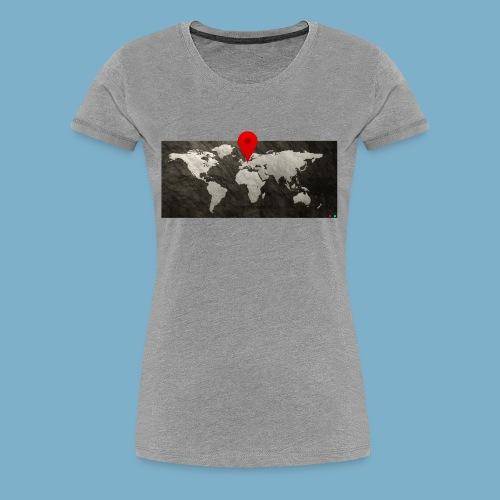 Weltkarte mit Pin - Standort - Frauen Premium T-Shirt