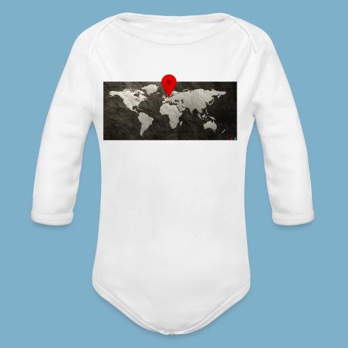 Weltkarte mit Pin - Standort - Baby Bio-Langarm-Body