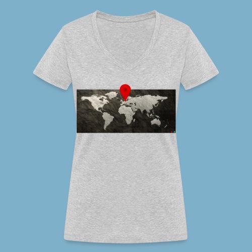 Weltkarte mit Pin - Standort - Frauen Bio-T-Shirt mit V-Ausschnitt von Stanley & Stella