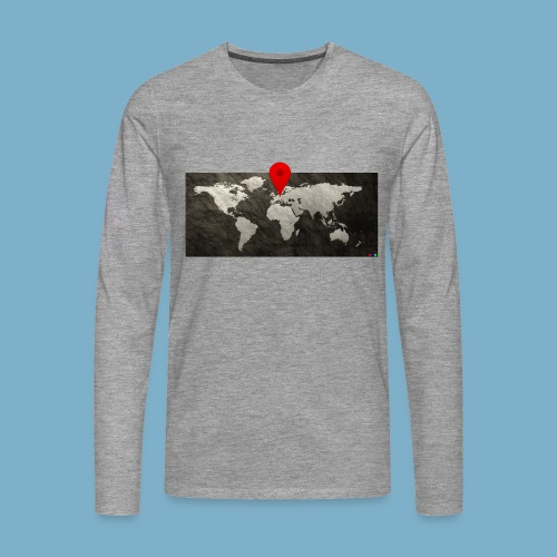 Weltkarte mit Pin - Standort - Männer Premium Langarmshirt
