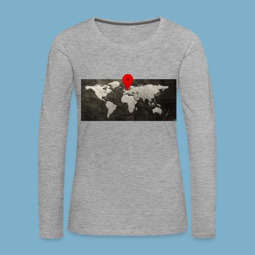 Weltkarte mit Pin - Standort - Frauen Premium Langarmshirt