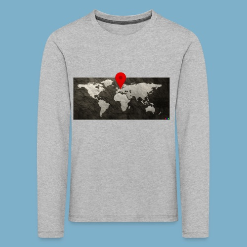 Weltkarte mit Pin - Standort - Kinder Premium Langarmshirt