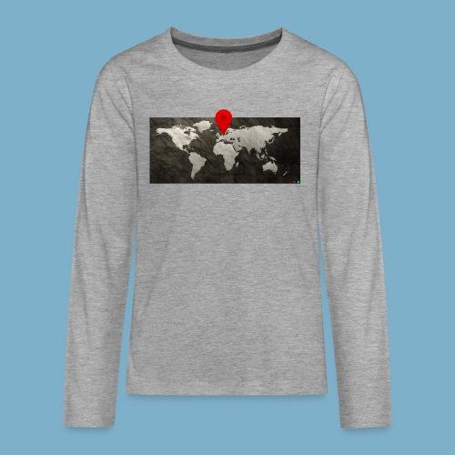 Weltkarte mit Pin - Standort - Teenager Premium Langarmshirt