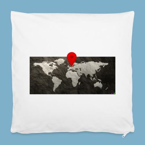 Weltkarte mit Pin - Standort - Kissenbezug 40 x 40 cm