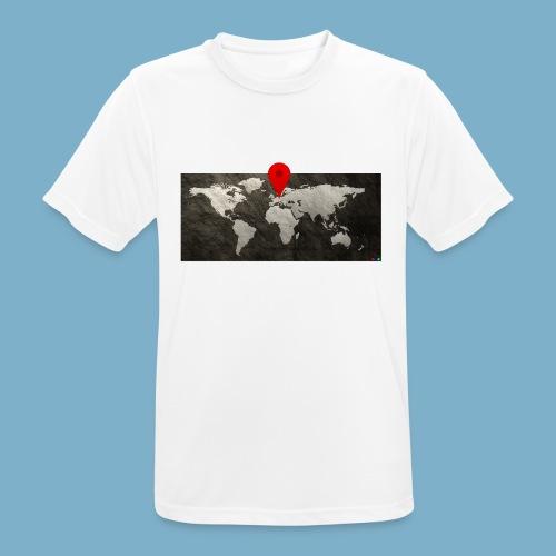 Weltkarte mit Pin - Standort - Männer T-Shirt atmungsaktiv