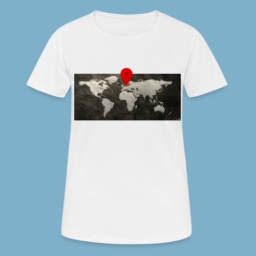 Weltkarte mit Pin - Standort - Frauen T-Shirt atmungsaktiv