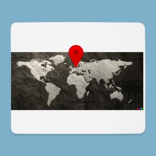 Weltkarte mit Pin - Standort - Mousepad (Querformat)