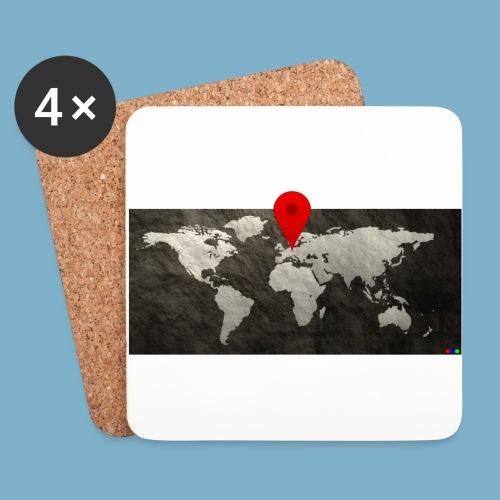 Weltkarte mit Pin - Standort - Untersetzer (4er-Set)