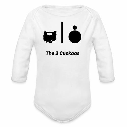 3 Cuckoos Logo No Background - Organic Longsleeve Baby Bodysuit