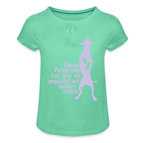 Vorsprung durch Handlung - Mädchen-T-Shirt mit Raffungen