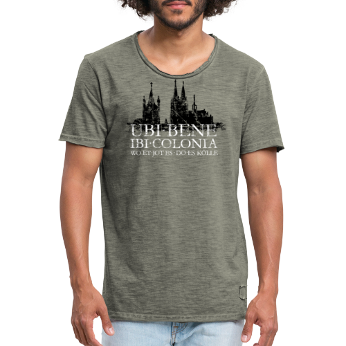 UBI BENE DO ES KÖLLE Dom St.Martin (Vintage S/W) Köln Skyline - Männer Vintage T-Shirt