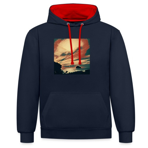 Contrast Colour Hoodie - Water,Surfing,Surf,Seaside,Sea,Scene,Cornwall,Beach