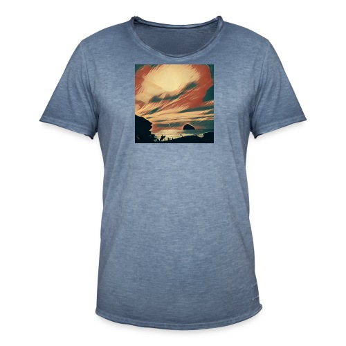 Men's Vintage T-Shirt - Water,Surfing,Surf,Seaside,Sea,Scene,Cornwall,Beach