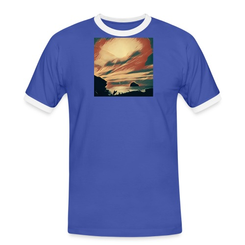 Men's Ringer Shirt - Water,Surfing,Surf,Seaside,Sea,Scene,Cornwall,Beach