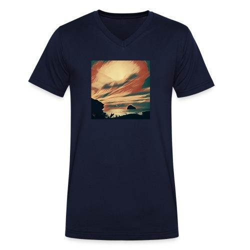 Men's Organic V-Neck T-Shirt by Stanley & Stella - Beach,Cornwall,Scene,Sea,Seaside,Surf,Surfing,Water