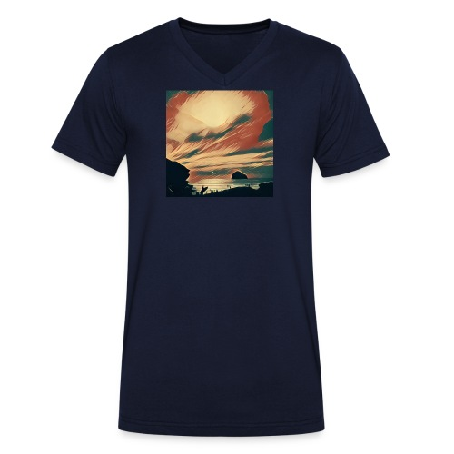 Men's Organic V-Neck T-Shirt by Stanley & Stella - Water,Surfing,Surf,Seaside,Sea,Scene,Cornwall,Beach