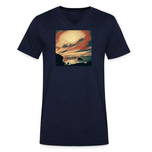 Men's Organic V-Neck T-Shirt by Stanley & Stella - Water,Surfing,Surf,Seaside,Sea,Scene,Cornwall,Beach