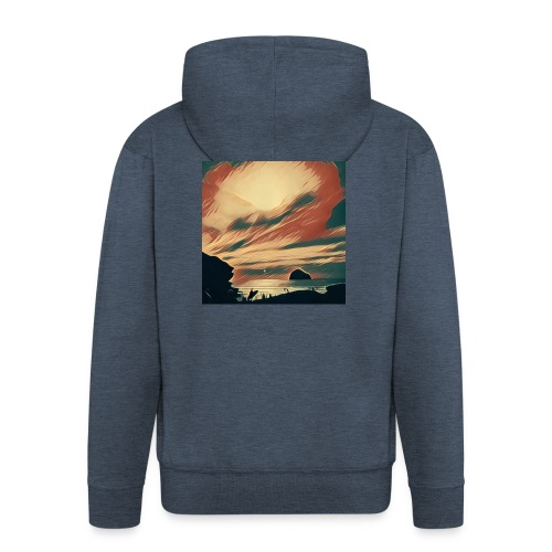 Men's Premium Hooded Jacket - Water,Surfing,Surf,Seaside,Sea,Scene,Cornwall,Beach