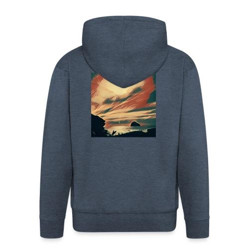 Men's Premium Hooded Jacket - Water,Surfing,Surf,Seaside,Sea,Scene,Cornwall,Beach