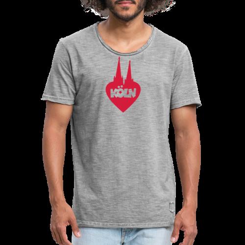 I love Köln mit Herz und Dom - Männer Vintage T-Shirt