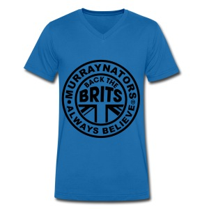 Back The Brits. Mens T. Blue. Large Sizes. - Men's Organic V-Neck T-Shirt by Stanley & Stella