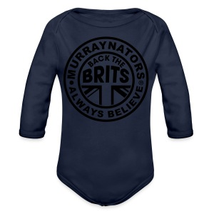 Back The Brits. Mens T. Blue. Large Sizes. - Organic Longsleeve Baby Bodysuit