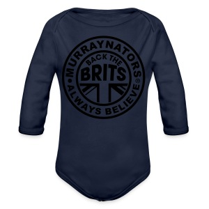 Back The Brits. Mens T. Blue. Large Sizes. - Organic Longsleeve Baby Bodysuit