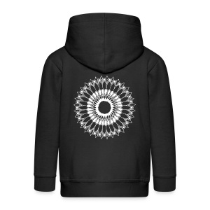 White Lace Sunflower Mandala - Kids' Premium Zip Hoodie