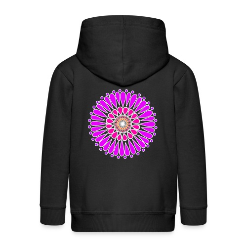 Pink & Purple Sunflower Mandala - Kids' Premium Zip Hoodie