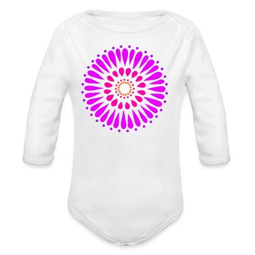 Pink & Purple Sunflower Mandala - Organic Longsleeve Baby Bodysuit